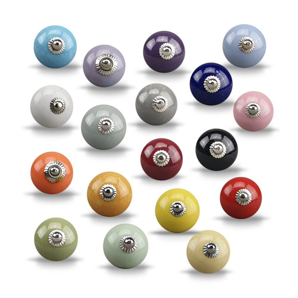 Pomos de cerámica color liso varios