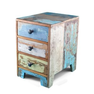 Cajonera madera teca color azul