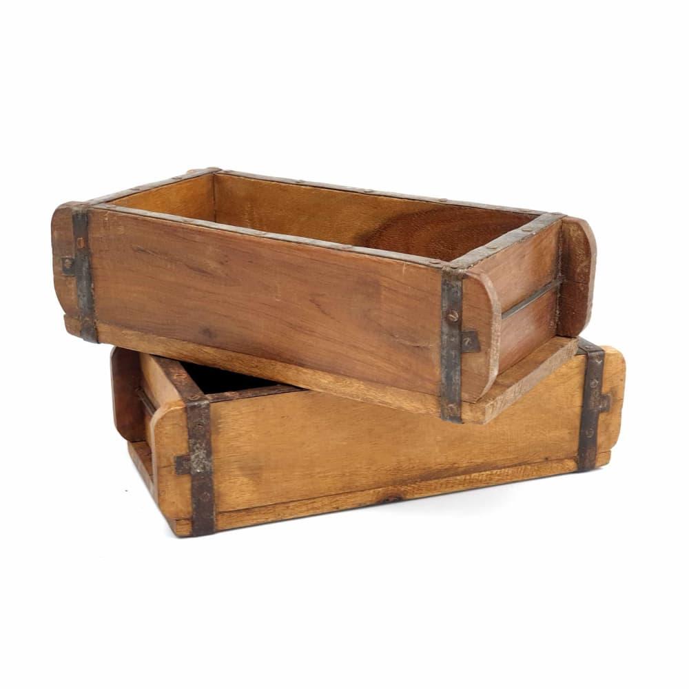 Caja De Madera Antiguo Molde De Ladrillo Auténtico Vintage
