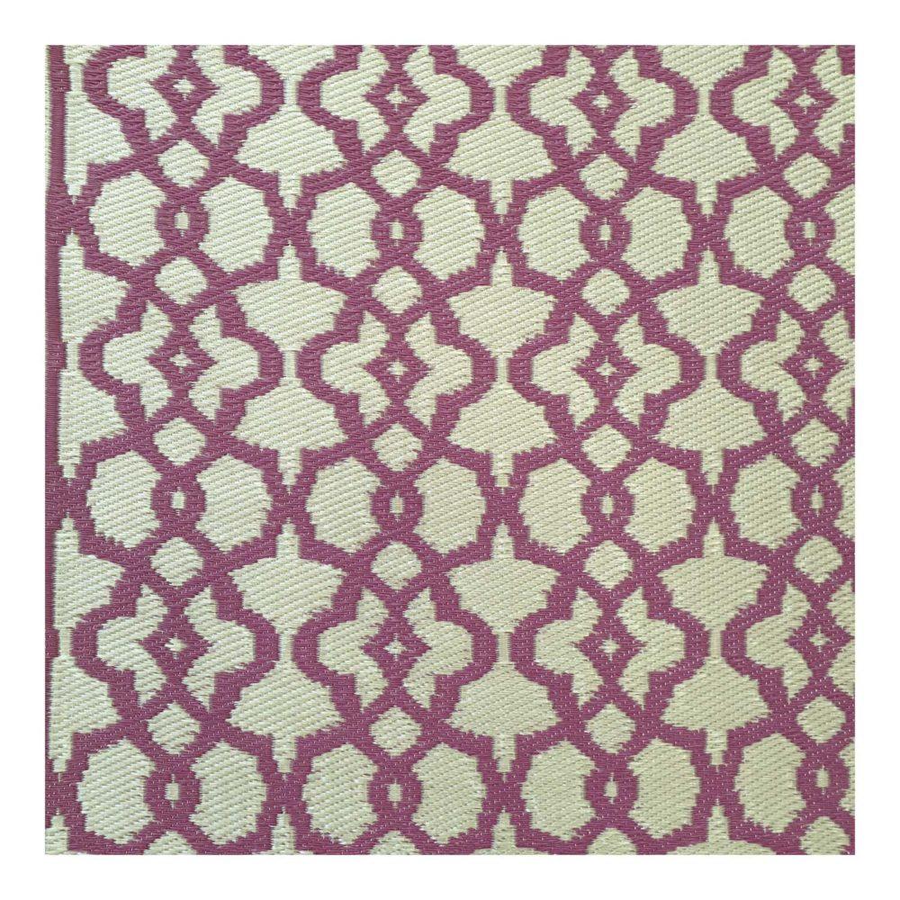 1-VI-PO-RU-alfombra-plastico-exterior-beige-crudo-magenta-rosa-dorado-dibujo-geometrico-India